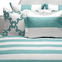 Hampton Stripe Bedding - Aquarmarine | Bedding | Bedding-and-pillows | Z Gallerie