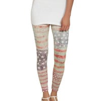 Distressed Amerincan Flag Legging | Shop Just Arrived at Wet Seal