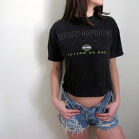 Harley Davidson Crop Top Cropped Biker Tee Womens Shirt Motorcycle Follow No One