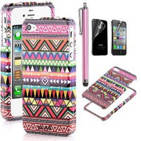 Pandamimi ULAK 2-Piece Hybrid High Impact Case Pink Tribal Cover for iPhone 4 4S with free screen protector and Stylus
