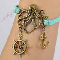 Pirates of the Caribbean, Personalized Bronze Octopus, Anchor & Rudder Charm Bracelet--Korean Cashmere Bracelet--Best Chosen Gift---- B123