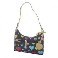 Black Multi Hearts Hobo Style Simulated Leather Tote