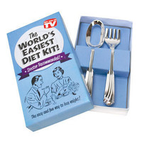 "NEW Funny Gag Prank Gift ""World's Easiest Diet Kit"" Joke Fork & Spoon"