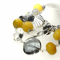 Chunky yellow and gray necklace made of by VeniciaCreations