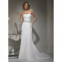 Simple Spring 2012 Column Strapless Bursh Train Petite Empire Wedding Dress