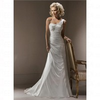 Simple Spring 2012 White Mermaid One Shoulder Bursh Train Petite Wedding Dress