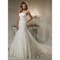 Glamorous Spring 2012 Lace White Court Train Backless Petite Wedding Dress