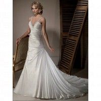 Spring 2012 Organza Off the shoulder Trumpe Empire Lace up Wedding Dress