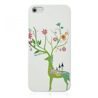 Spring Fawn Rhinestone Embossment Case For iPhone 5