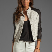 ROSEanna Paris Jacket with Leather Sleeves in Ecru from REVOLVEclothing.com