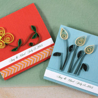 Quill Matchbook Favors, Wedding Quilled Flowers Notepad, Personalized (Set of 20)