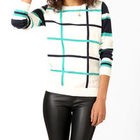 Artsy Grid Patterned Sweater
