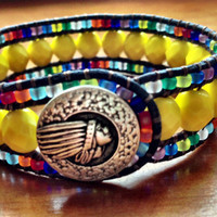 "Triple Leather Cuff, Beaded Leather Wrap ""Indian Summer"" Bracelet, Cuff"