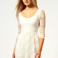 Tia 3/4 Sleeve Lace Skater Dress