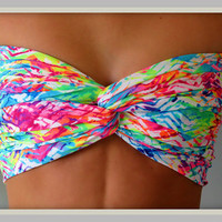 NEW - Neon Chevron Bandeau Top