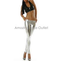 New SILVER LEGGINGS Wet Look Metallic Vinyl 80s Liquid Foil Pants Shiny Tights