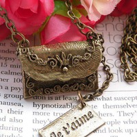 Pretty retro copper brass envelope with je by toofashion2010