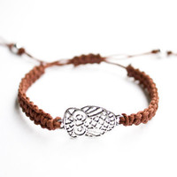 Owl Bracelet Brown Hemp Friendship