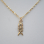 Fish Bone Necklace in Gold Skeleton Necklace by BellaJewelsInc