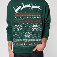Ugly Christmas sweater -- Cat jumping in snow -- pullover cat sweatshirt -- s m l xl xxl xxxl