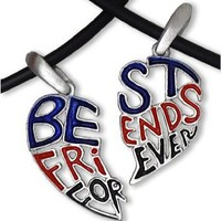 "Amazon.com: Dark - Red, Blue & Black - TWO HEARTS (16.5"" inch PVC) - Best Friends Necklace - BFF - 2-Piece Pewter Friendship Jewelry Set: Jewelry"
