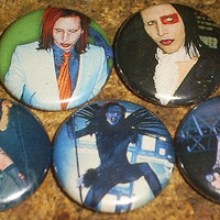 5 MARILYN MANSON one inch pin back buttons set