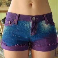 Purple distressed galaxy shorts