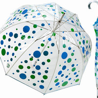 Fun Clear Blue & Green Bubbles Motif Retro Umbrella - Unique Vintage - Cocktail, Evening, Pinup Dresses