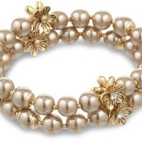 "Anne Klein ""Baby`s Breath"" Gold-Tone 2 Row Champagne Pearl Stretch Bracelet: Jewelry"