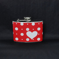 4oz Stainless Steel Hip Flask with white polka dots with heart on red wrap - fun retro