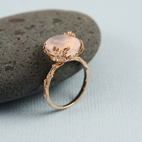 Pink Gold Oval Rose Quartz Ring - gemstone ring, tooriginal | tooriginal - Jewelry on ArtFire