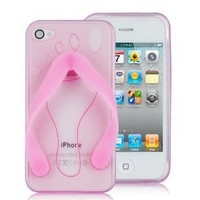 Flip-flop Slipper TPU Case For iPhone 4 (AT&amp;T Only) PINK