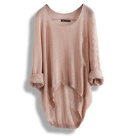 Batwing Ladies Casual Loose Asymmetric Knit Top [23]