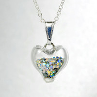 Iridescent silver glitter in heart blown glass ball silver plated necklace
