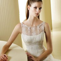 US $245.99 | Gorgeous White Organza Empire Bateau Sleeveless Vintage Wedding Dresses