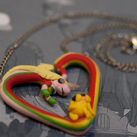 Adventure Time Lady Rainicorn and Jake Heart Necklace