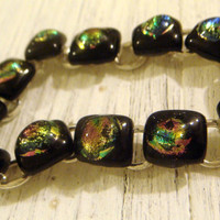 Bracelet fused black and dichroic rainbow by GeckoGlassDesign