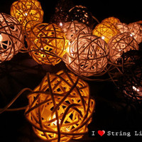 Brone Yellow and White Rattan Ball String Lights For Wedding and House decoration (20 Flowers/Set)