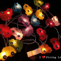 Folk Cars Mulberry Paper Party Mixed Color Set String Lights For Wedding and House decoration (20 Flowers/Set)