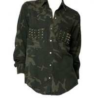 Military Green Blouse with Twin Rivets Embellished Patch Pockets