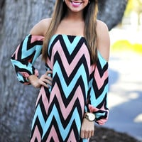 Happily Ever Chevron Dress: Pink/Blue | Hope&#x27;s