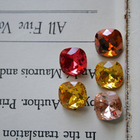 Grab Bag - Cushion Cut Square Swarovski Crystal Earrings, Estate Style, Pink, Orange, Yellow, Topaz