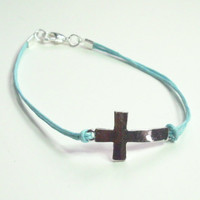 Sideways Cross Turquoise Blue Bracelet