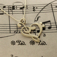 G clef bass clef heart Necklace silver music note Treble clef Pendant charm necklace music note necklace 18&quot; inches Sterling Silver Chain