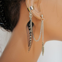 Feather Ear Cuff Black Rooster and Grizzly by RazzleDazzleMe