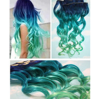 Blue Lagoon Blue Green Ombre Dip Dyed Human Hair by Cloud9Jewels