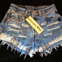 Levis High waisted denim shorts Studded super by jeansgonewild