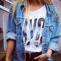 Studded Shoulder Denim Jacket