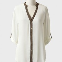 nova scotia button-up blouse in ivory at ShopRuche.com