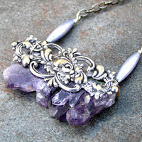Amethyst Druzy Gemstone and Silver Necklace 